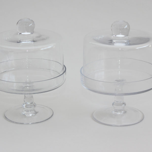 glass cake dome set of 2 polkadot party hire - Glass Cake Dome