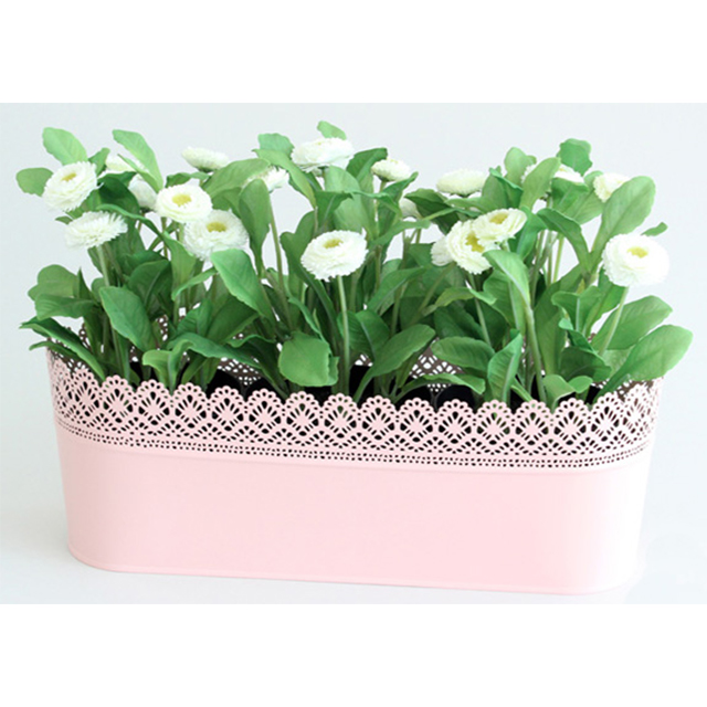 Centrepiece pink lace planter with white flowers polkadot party hire go to flowers mightylinksfo