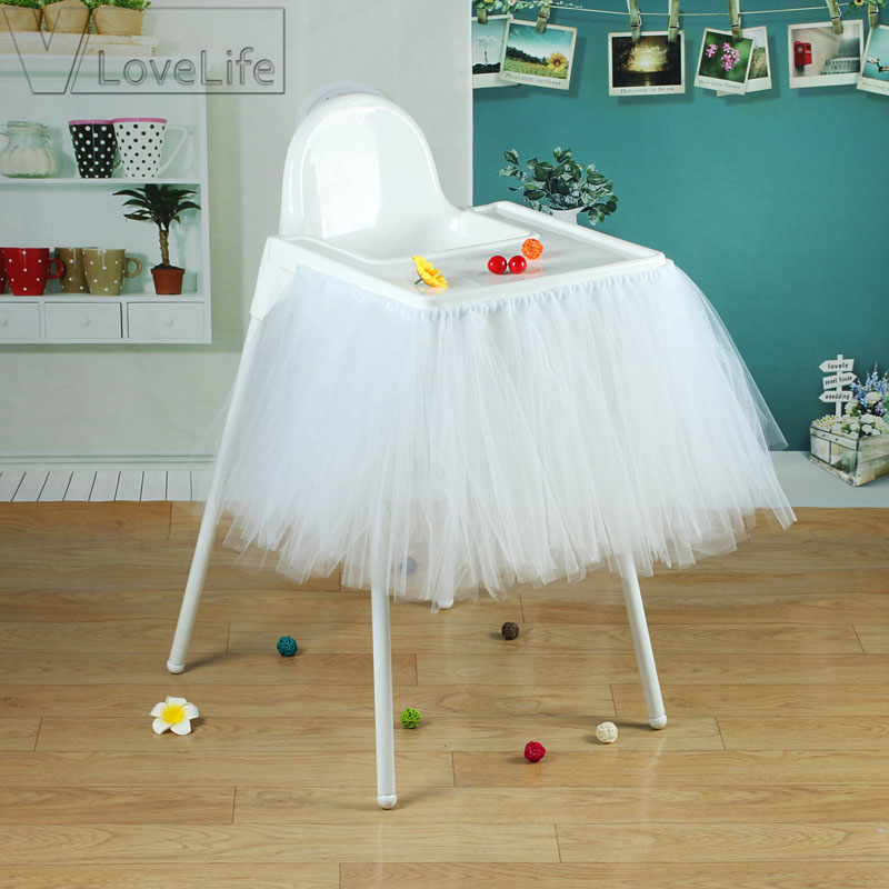 \u003c Go to Table Skirts Baby High Chair Tutu Skirt - Pink Tulle Polkadot Party Hire